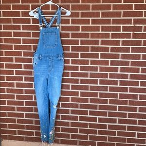 Forever 21 overalls with flowers on the bottom